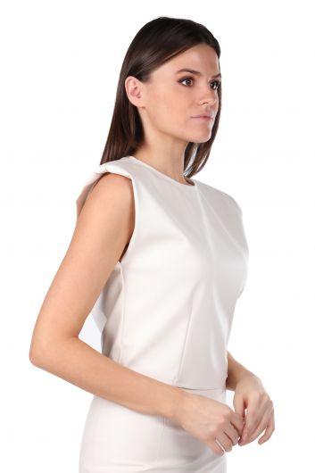 MARKAPIA WOMAN - Wadded Waist Elastic Crop Faux Leather Women's Blouse (1)