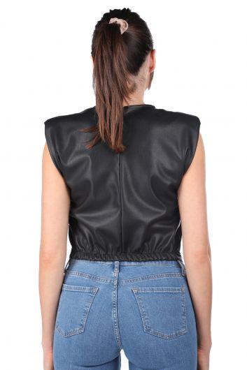 Wadded Waist Elastic Crop Faux Leather Women's Blouse - Thumbnail