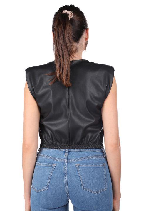 Укороченная женская блуза из искусственной кожи с эластичной резинкой на стеганой талии