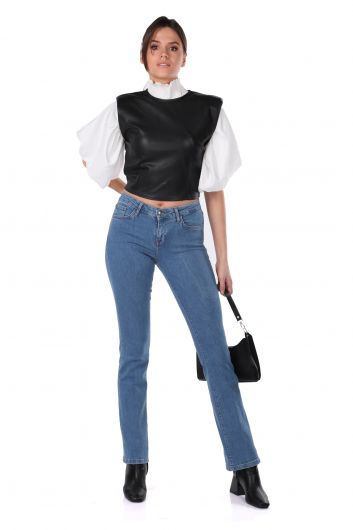 Укороченная женская блуза из искусственной кожи с эластичной резинкой на стеганой талии - Thumbnail