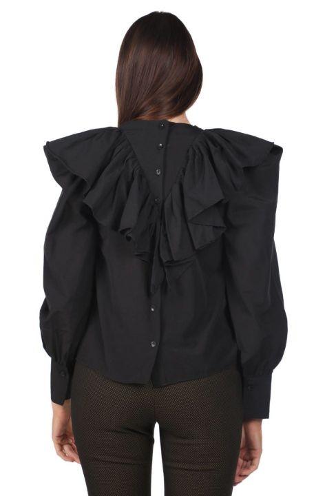 Volanlı Siyah Kadın Bluz