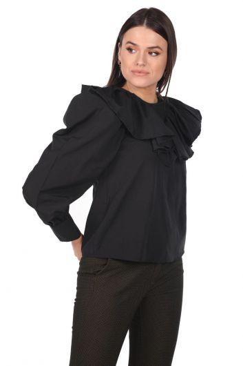 Volanlı Siyah Kadın Bluz - Thumbnail