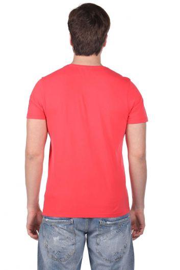 Мужская футболка с круглым вырезом и принтом Vosvos - Thumbnail