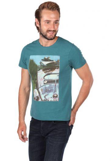 Vosvos Printed Men's Crew Neck T-Shirt - Thumbnail