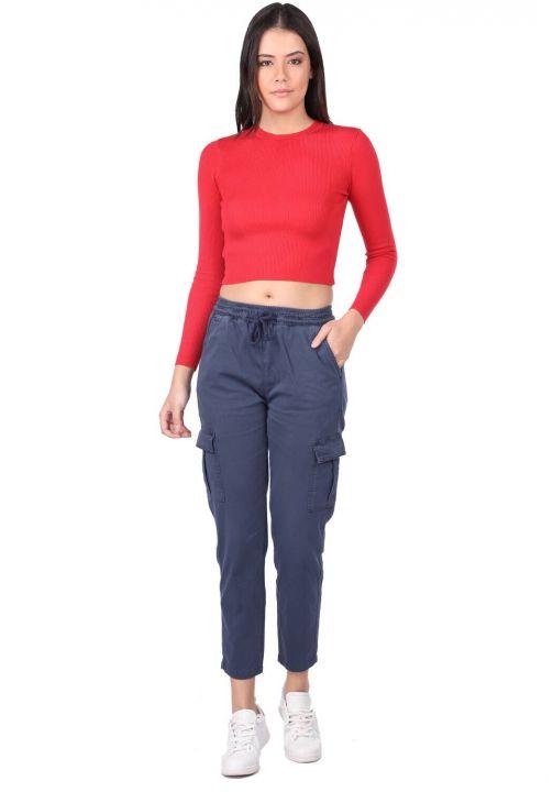 Elastic Waist Cargo Pocket Jeans