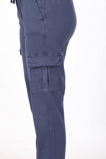 Elastic Waist Cargo Pocket Jeans - Thumbnail