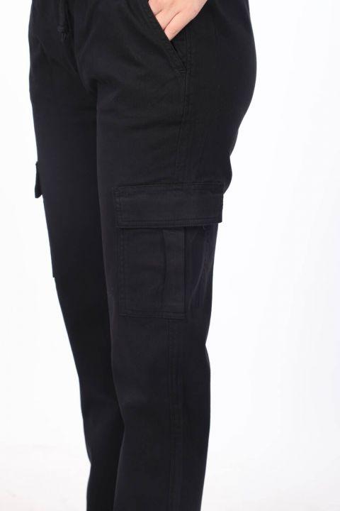 Джинсы-карго с эластичным поясом и карманами