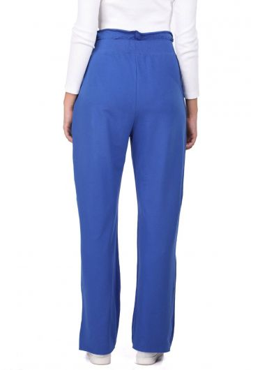MARKAPIA WOMAN - Синие спортивные штаны со сборками на резинке на талии (1)