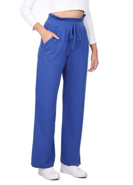 Синие спортивные штаны со сборками на резинке на талии