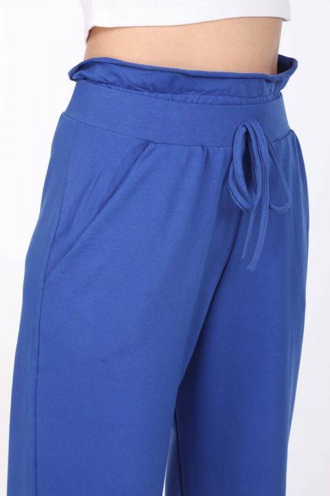 Elastic Waist Gathered Blue Sweatpants