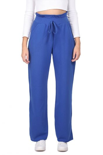 Elastic Waist Gathered Blue Sweatpants - Thumbnail