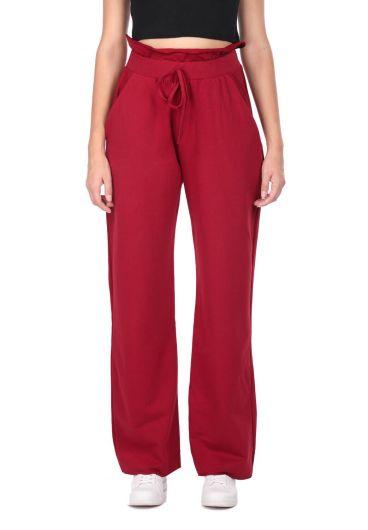 Темно-красные спортивные штаны со сборками на резинке на талии - Thumbnail