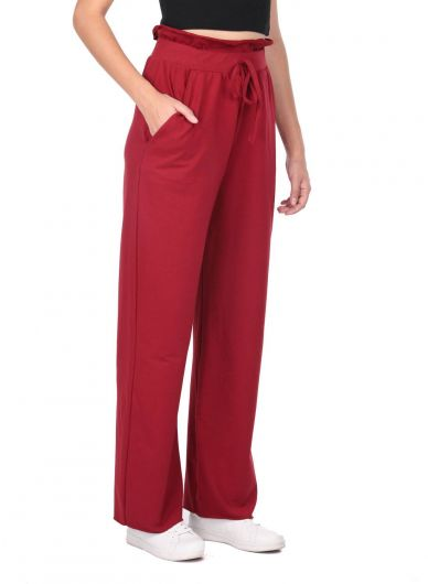 MARKAPIA WOMAN - Elastic Waist Gathered Burgundy Sweatpants (1)