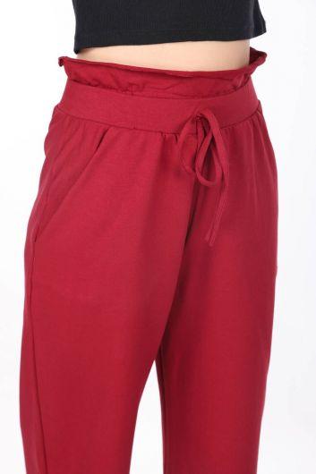 Elastic Waist Gathered Burgundy Sweatpants - Thumbnail
