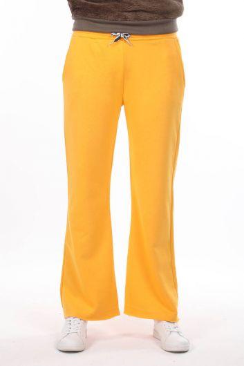 مرونة الخصر السراويل الاسبانية Sweatpants صفراء للمرأة - Thumbnail