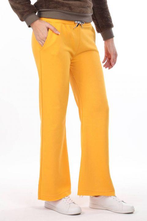 مرونة الخصر السراويل الاسبانية Sweatpants صفراء للمرأة