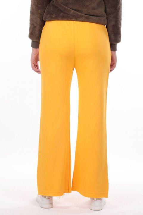 Испанские брюки с эластичной резинкой на талии Желтые женские спортивные штаны