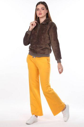 Испанские брюки с эластичной резинкой на талии Желтые женские спортивные штаны - Thumbnail