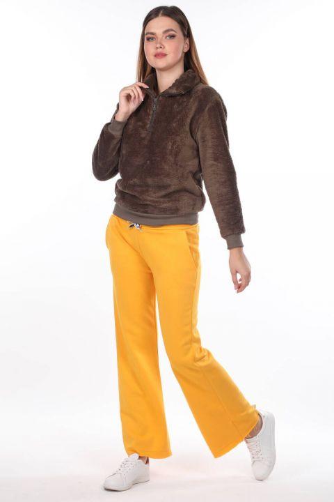 Elastic Waist Spanish Trousers Yellow Women's Sweatpants