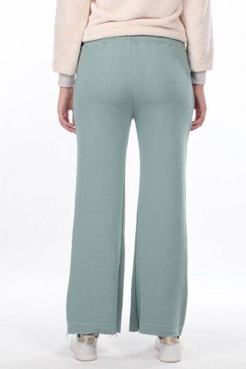 Расклешенные зеленые женские спортивные штаны с эластичной талией - Thumbnail