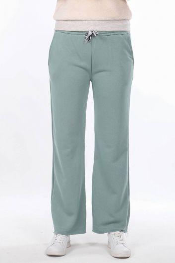 Elastic Waist Flared Green Women's Sweatpants - Thumbnail