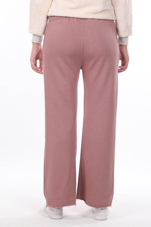 Расклешенные розовые женские спортивные штаны с эластичной талией