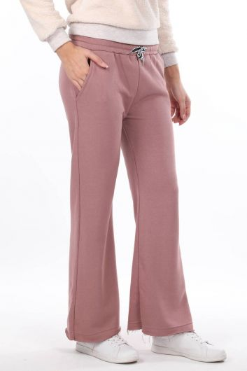 MARKAPIA WOMAN - Elastic Waist Flared Pink Women's Sweatpants (1)