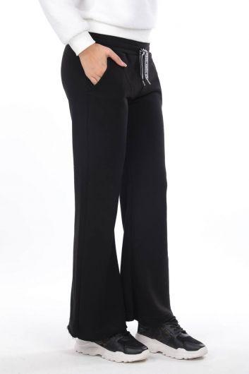 MARKAPIA WOMAN - مرونة الخصر السراويل الإسبانية Sweatpants المرأة السوداء (1)