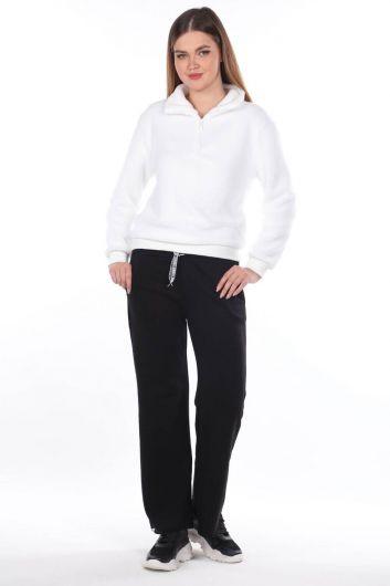مرونة الخصر السراويل الإسبانية Sweatpants المرأة السوداء - Thumbnail