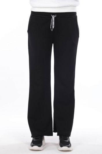 Испанские брюки с резинкой на талии Черные женские спортивные штаны - Thumbnail