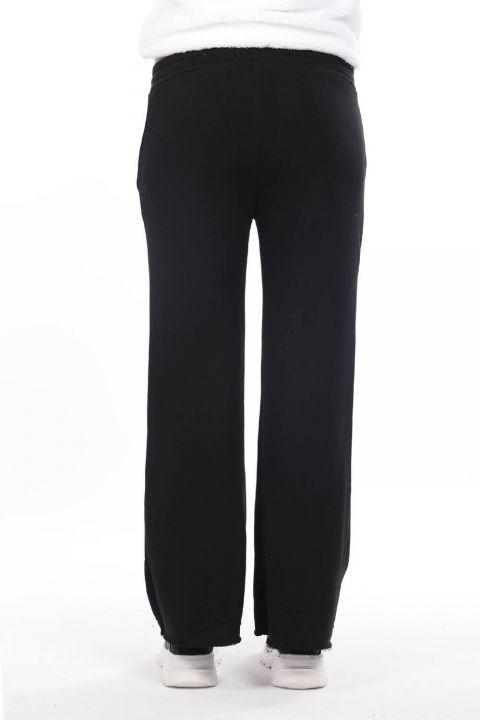 Испанские брюки с резинкой на талии Черные женские спортивные штаны