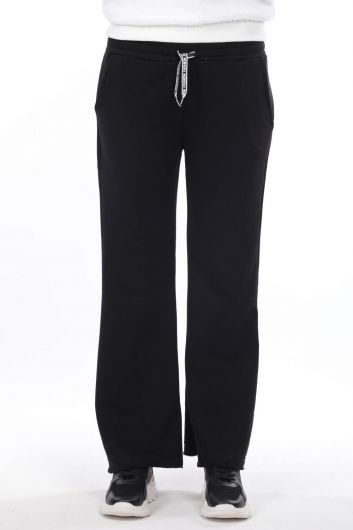 Elastic Waist Spanish Trousers Black Women's Sweatpants - Thumbnail