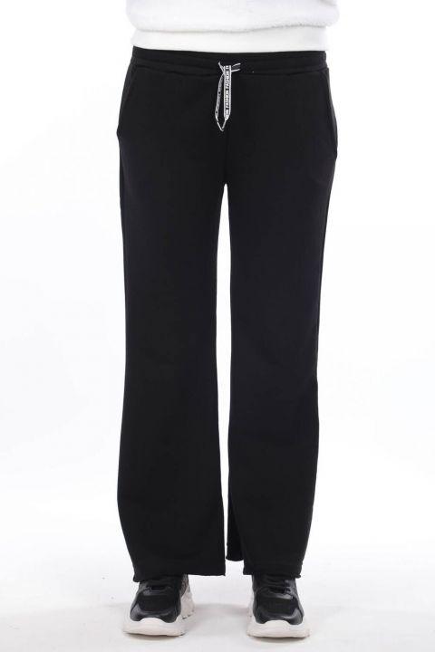 Elastic Waist Spanish Trousers Black Women's Sweatpants