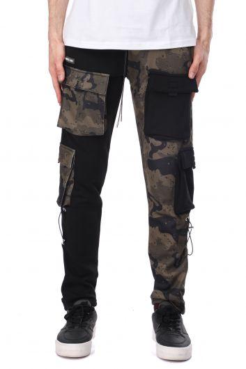 Двухцветные мужские спортивные штаны из флиса с эластичной резинкой на талии - Thumbnail