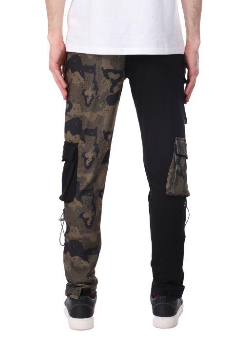 Двухцветные мужские спортивные штаны из флиса с эластичной резинкой на талии