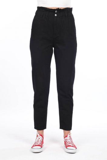 Elastic Waist Gathered Women Jean Trousers - Thumbnail
