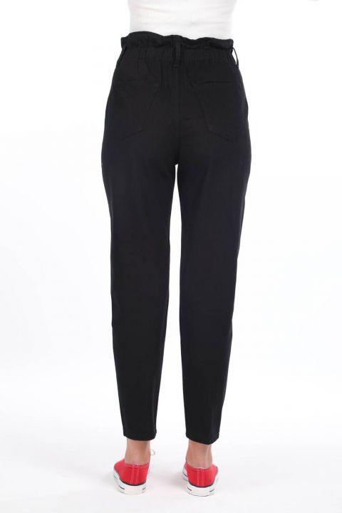 Женские джинсовые брюки со сборками на резинке на талии