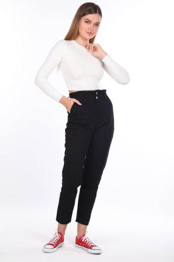 Женские джинсовые брюки со сборками на резинке на талии - Thumbnail