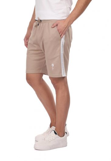 ROSE LONDON - Belted Banded Men's Shorts-Beige (1)