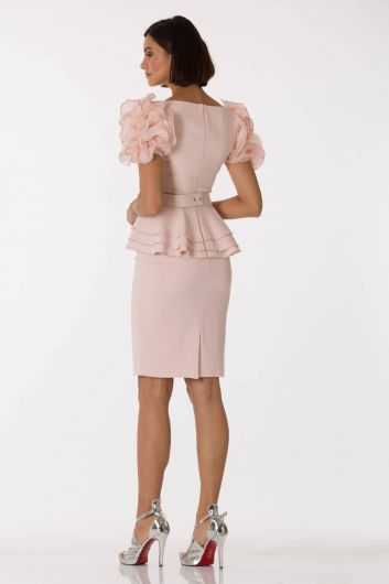 Shecca By Dayi - Arm Detail Belted Pink Evening Dress Suit (1)