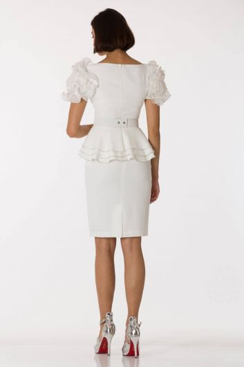 Shecca By Dayi - Sleeve Detailed Belted White Evening Dress Suit (1)
