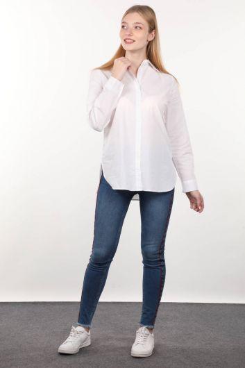 Белая женская рубашка бойфренда - Thumbnail