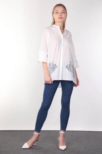 White Guipure Detailed Bat Sleeve Women's Shirt - Thumbnail