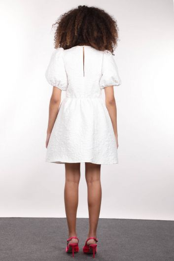 MARKAPIA WOMAN - White Quilted Balloon Sleeve Gathered Women's Dress (1)