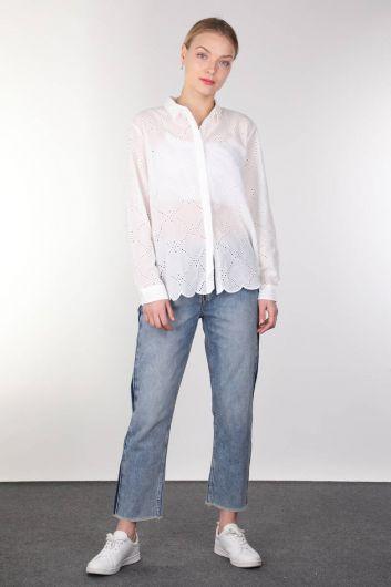 قميص نسائي أبيض صدفي - Thumbnail
