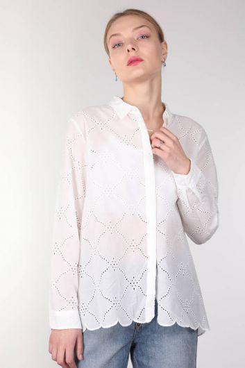 Women's White Scalloped Shirt - Thumbnail