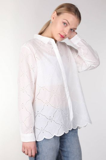 MARKAPIA WOMAN - Women's White Scalloped Shirt (1)