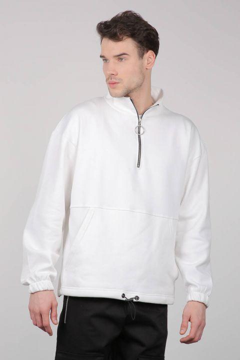 Black Men's Sweatshirt with Zipper and Pockets