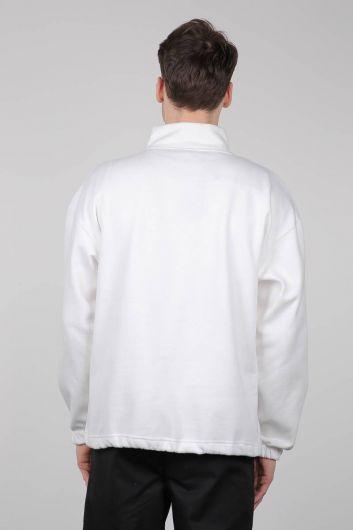 Black Men's Sweatshirt with Zipper and Pockets - Thumbnail