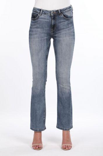 Женские джинсовые брюки с широкими штанинами - Thumbnail